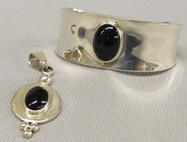 Mexican Silver & Black Onyx Bracelet & Pendant