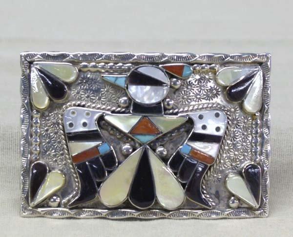 Zuni Thunderbird Belt Buckle By B. & C. Shack