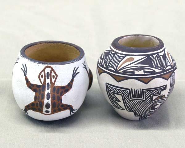 2 Zuni Pueblo Pottery Miniature Jars Signed