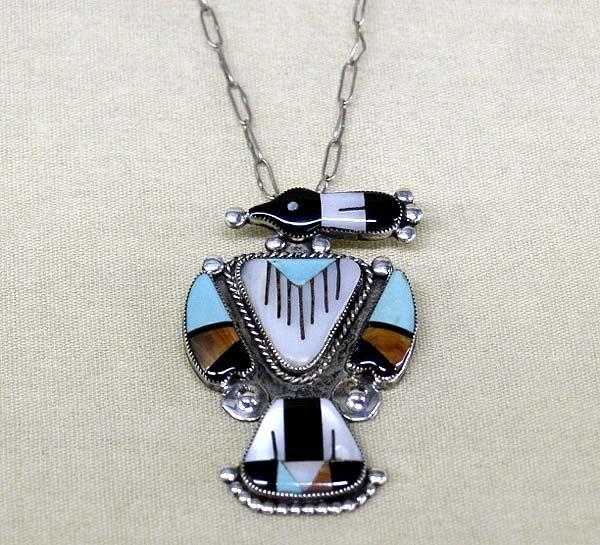 Zuni Thunderbird Necklace Hallmarked J
