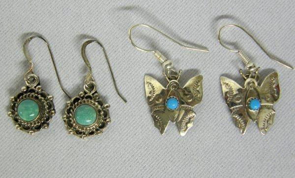 2 Pr Navajo Silver Turquoise Pierced Earrings