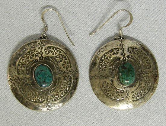 1319A: Silver Turquoise Pierced Earrings By Stephen Fox