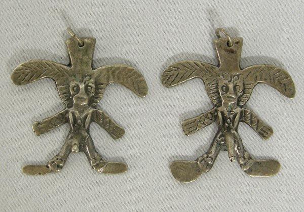 1301A: Vintage Silver Aztec  Fertility Symbol  Earrings