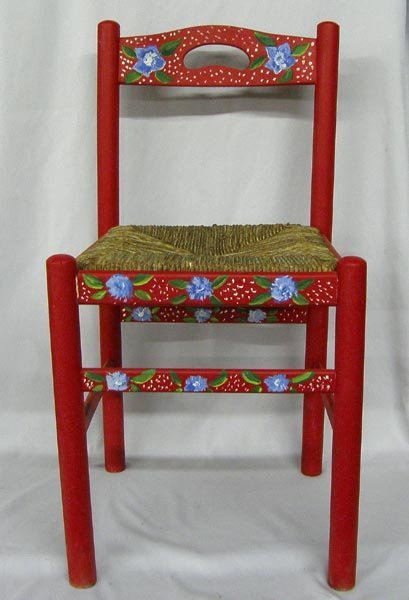 Hand Painted Wooden Chair With Woven Seat
