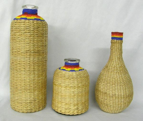 3 Glass Bottles With Woven Covers & Beadwork