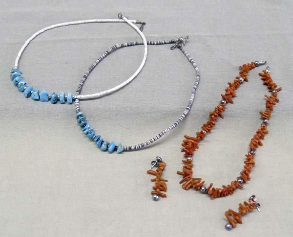 Navajo 3 Necklaces & 1 Pr Pierced Earrings