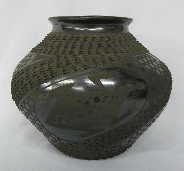Mata Ortiz Black Textured Pottery by Mario Olivas