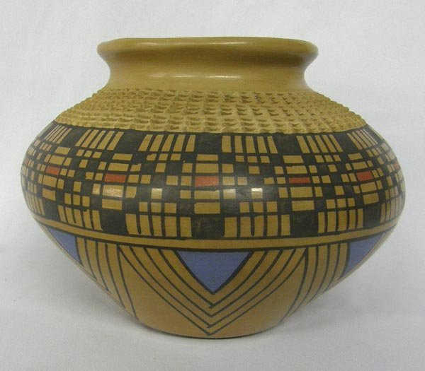 Mata Ortiz Textured Polychrome Pottery by J Tena