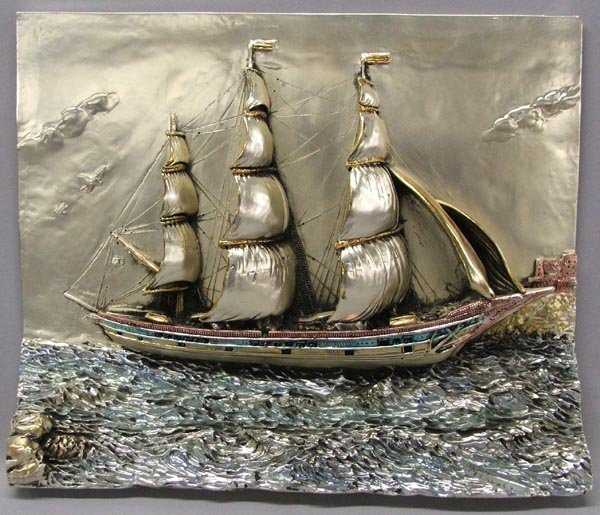 Silver Foil on  Metal Ship Sculpture by Manuel