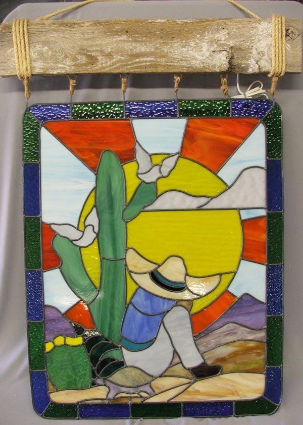 Stained Glass Desert Scene With Light Bar