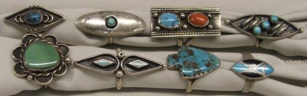 8 Navajo Silver Turquoise Coral Rings