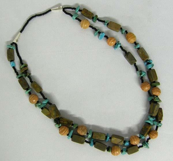 Turquoise Chalk Bead Necklace By Kills Thunder