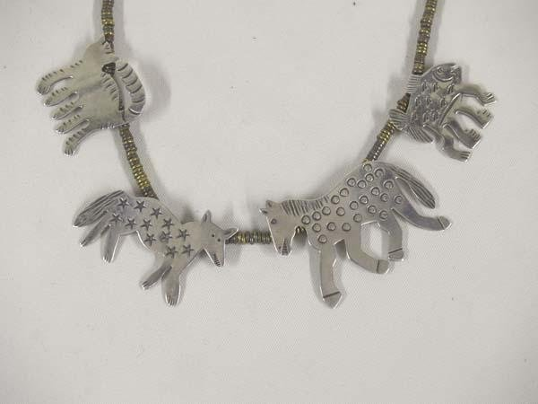 Necklace Silver Animals Brass Bead Chain By R L