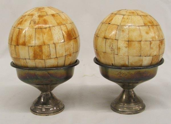 Pair Bone Tiled Orbs on Silver Stands