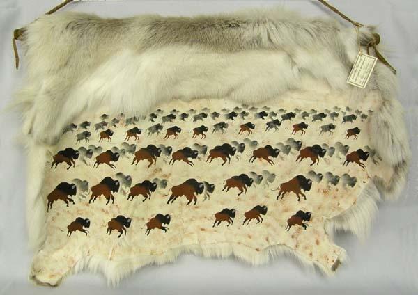 Navajo Painted Reindeer Pelt by Rene Charley
