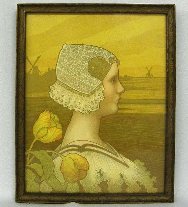 Vintage  Queen Wilhelmina Silkscreen Print by Berthon