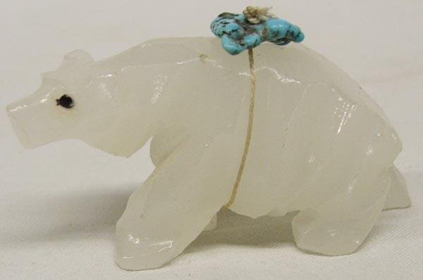 Zuni White Quartz Bear Fetish with Turquoise Power Pack
