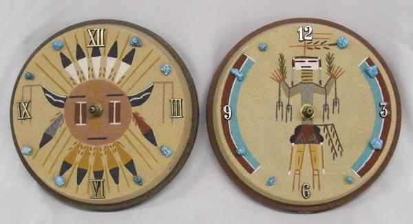 Pair Navajo Sand Painted Clocks