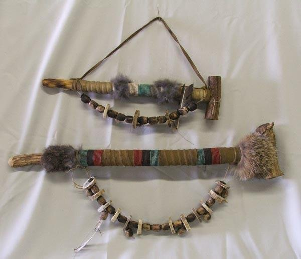 Two Beaded Plains Indian Horn Pipes