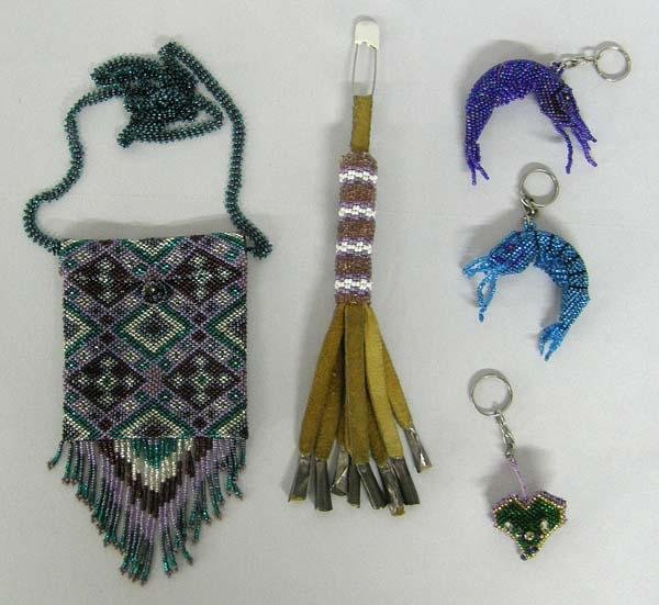Hand Beaded Keychains and Bag by Kills Thunder