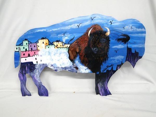 Hand Painted Wrought Iron Buffalo by Kills Thunder