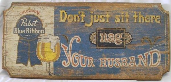 Vintage Wood Pabst Blue Ribbon Sign