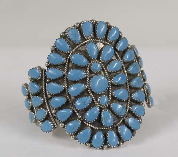 Zuni Turquoise Cluster Bracelet By GM