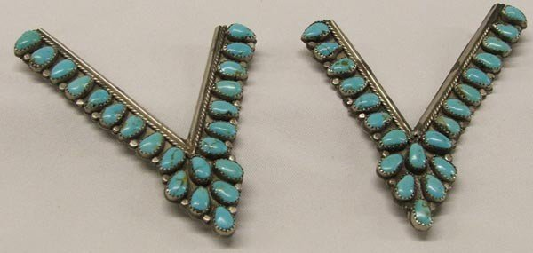 Set of Navajo Turquoise Collar Tabs