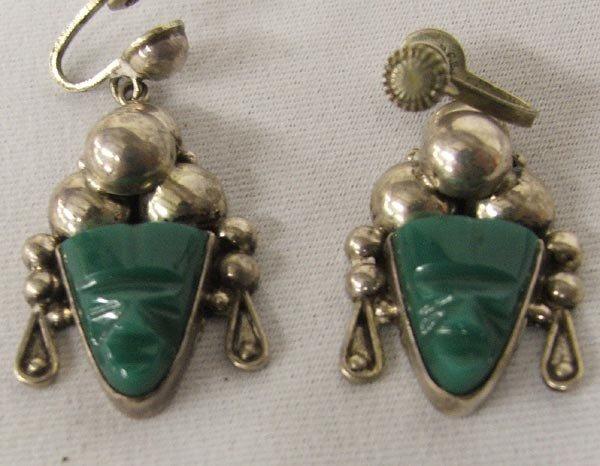 Taxco Silver Malachite Screw Back Earrings