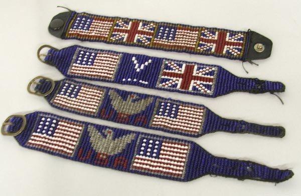 4 WWII Era Beaded Indian Bracelets