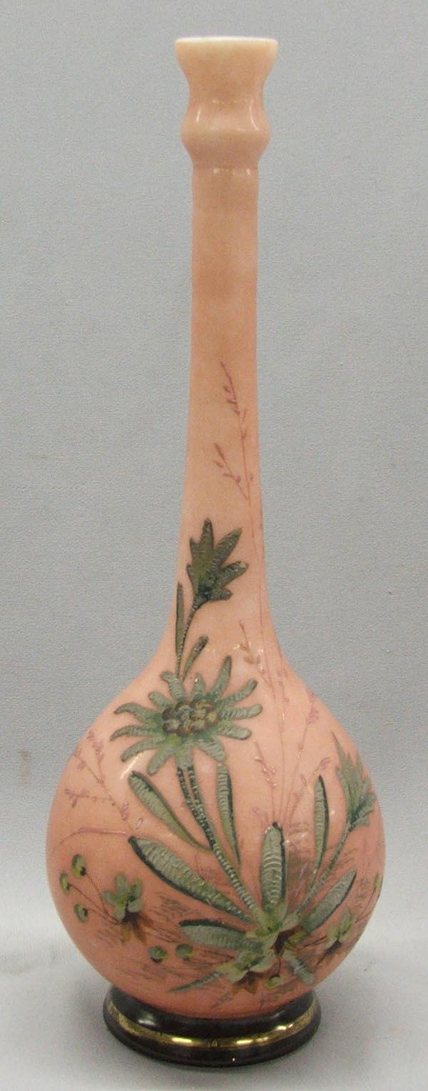 Bristol Hand Painted Cased Glass Bud Vase