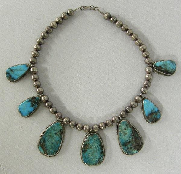 Navajo Silver Turquoise Necklace by D & J Clark