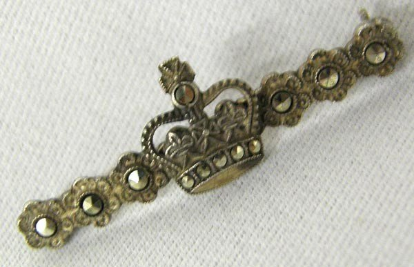 Antique Marcasite Crown Pin
