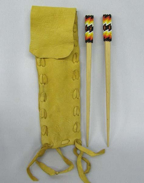 Southwest Beaded Hairsticks in Leather Pouch