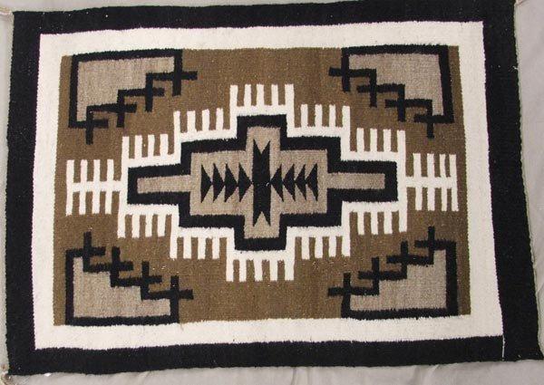 Navajo Two Gray Hills Weaving Rug, Home Spun