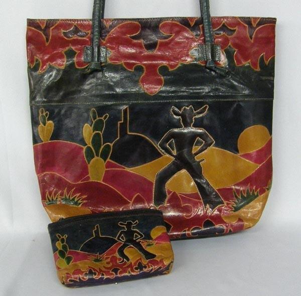Western Leather Handbag & Matching Clutch Bag