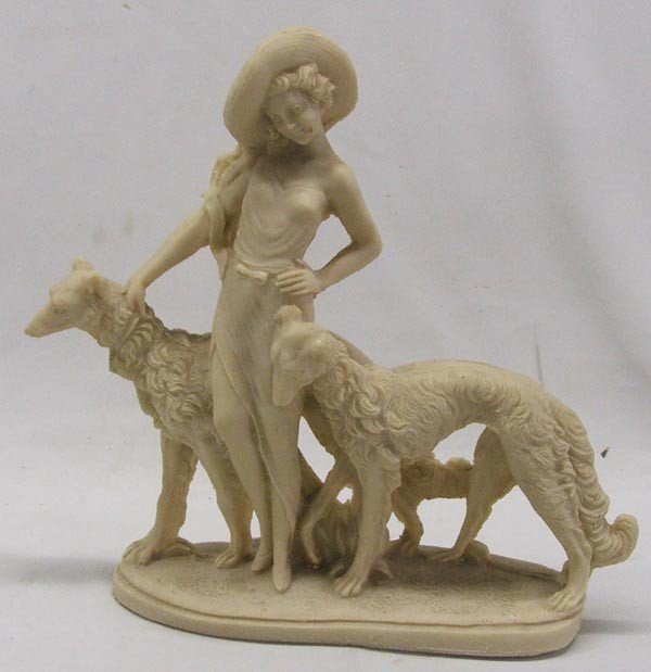 Lady and Borzoi Dogs Soapstone Statue