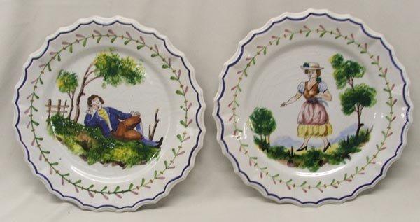 2 Vintage Handpainted Italian Faience Plates