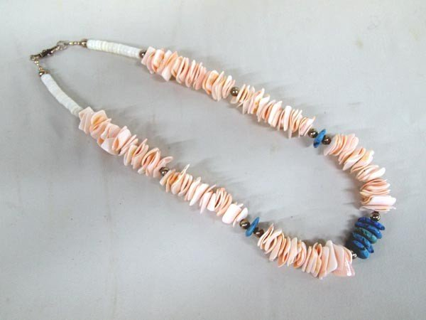 Navajo Turquoise Pink Shell Necklace