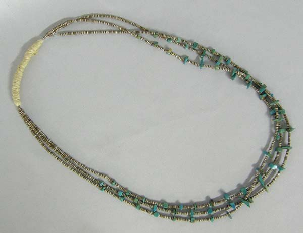 Navajo Three Strand Heishi Turquoise Necklace