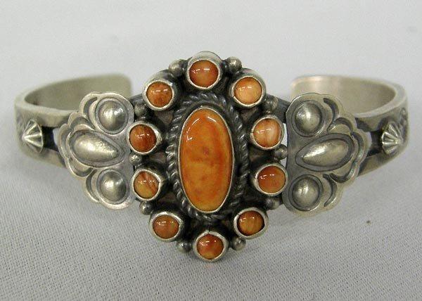 Navajo Silver Red Shell Bracelet Hallmarked DB