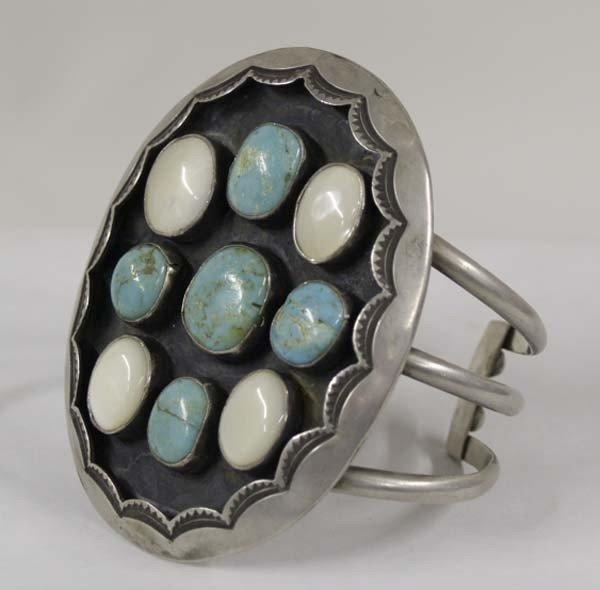 Navajo 3 Band Sterling Turquoise Bracelet