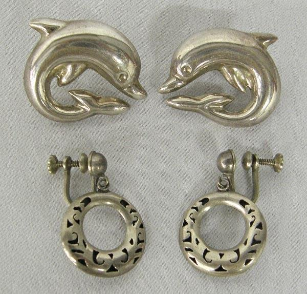 2 Pair Mexican Taxco Sterling Silver Earrings