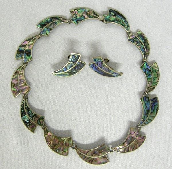 Mexican Taxco Abalone & Silver Necklace, Earrings
