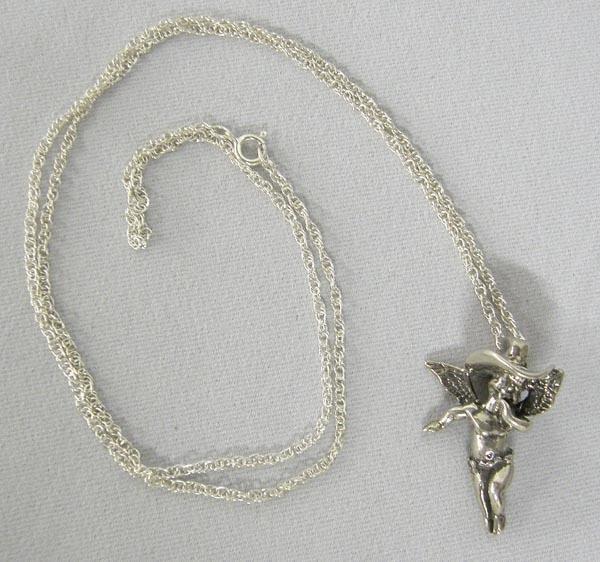 Silver Cowboy Angel Pendant Necklace