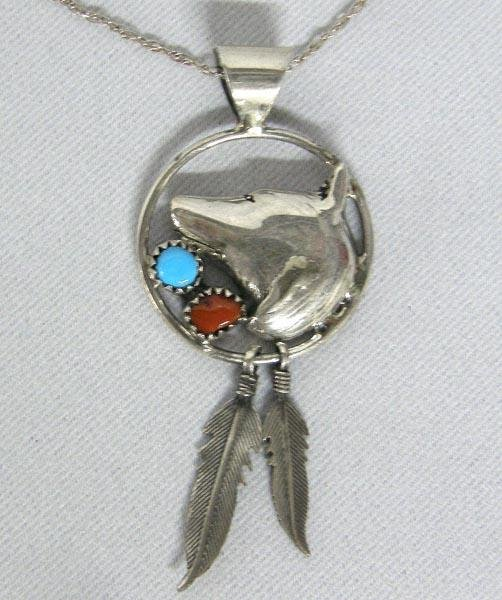 Navajo Silver Turquoise Coral Pendant Necklace