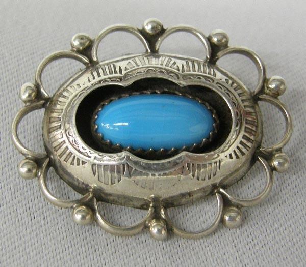 Navajo Silver Turquoise Shadowbox Pin