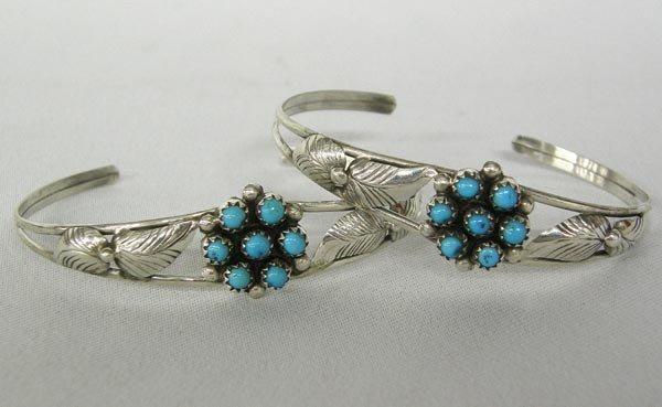 2 Navajo Silver Turquoise Bracelets Hallmarked