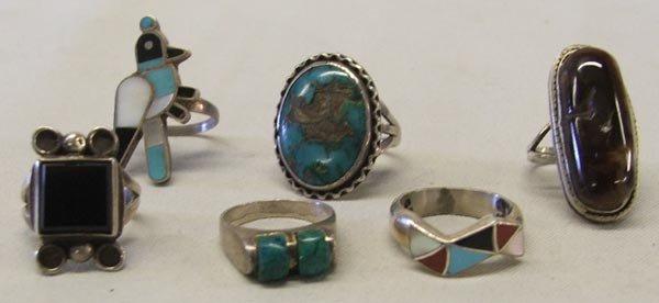 6 Southwestern Silver Turquoise Pueblo Rings