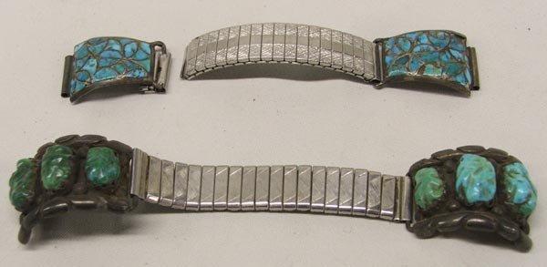 Pr. Men's Turquoise Silver Watchbands